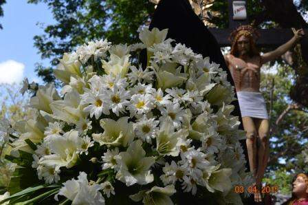 Flowers with the image of crucified Jesus Chirst