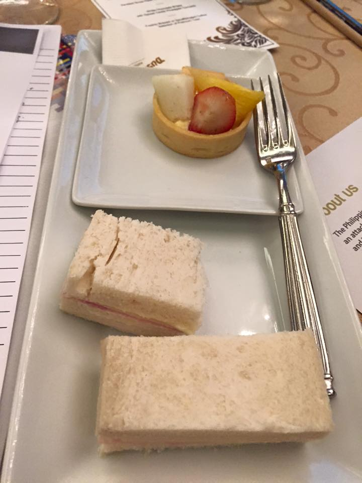 Morning snacks. Ham and cheese sandwich with petit fruit pastry (sorry don't know how its called)