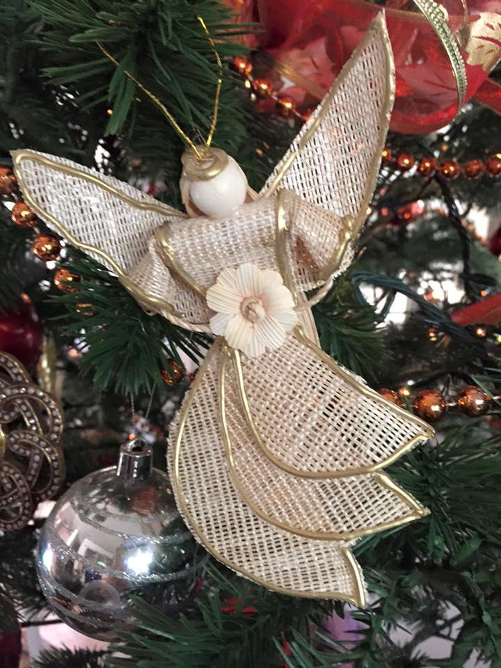Angel made of natural abaca