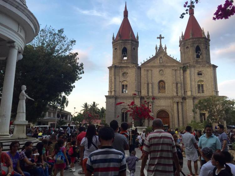 Another view of the Church with the plaza full of devotees waiting for the procession to start.